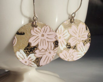 Petal Pink and Dark Gold Origami Small Earrings