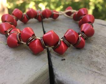 Red bead hemp bracelet, beaded bracelet, beach bracelet, bohemian bracelet, hemp bracelet, natural jewelry