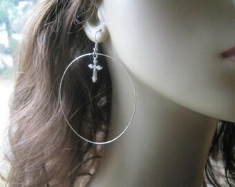 Cross Hoop Earrings, Cross Earrings, Silver Hoop Earrings, Large Cross Hoops, Silver Cross Hoops, Large Hoop Earrings