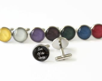 Son of the Bride Cufflinks, Son of the Bride Gift from Groom, Stainless Steel Cufflink, Black and White Cufflink, Gift for Son, Wedding Cuff