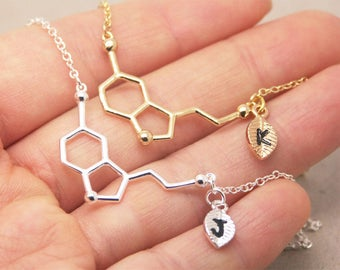 Serotonin Necklace, personalized initial necklace, chemistry necklace, science necklace, geometry necklace, graduation necklace SC001