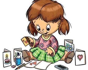 Little Girl Rubber-Stamping (DIGI STAMP)