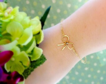 Dainty Bow bracelet, Bridesmaid gifts, bow jewelry, Help us tie the knot, minimal bracelet, bridal party gifts, wedding jewelry