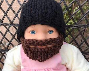 READY TO SHIP Baby Bearded Beanie - Black Hat with Brown Beard 0-6 months Lumberjack