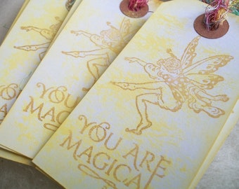 Gift Tags Little Fairy Gift Tags Set of 10 Flower Fairy You are Magical Whimsical Party Bag Tags Bookmark Happy Birthday Thank You Tags