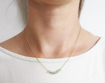 CA chain Aventurine Pearls-brass gold plated
