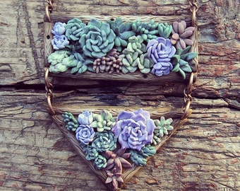 Succulent pendant - polymer clay jewelry - summer gift idea - plant succulents necklace - cactus
