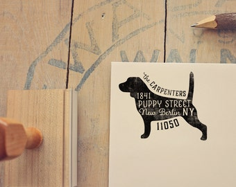 Beagle Return Address Stamp, Housewarming & Dog Lover Gift, Personalized Rubber Stamp, Wood Handle
