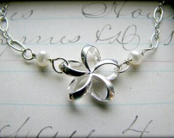 Petite Plumeria Bracelet - Sterling Silver - Aloha Hawaii Luau Hula Gift Best Friends Sisters Bridesmaids Daughter