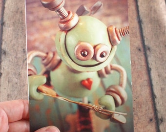 Valentine's Day Robot Cupid Art Postcard Techie Gift Geeky Love Gift