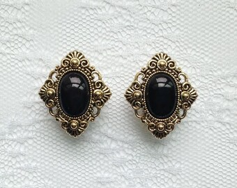 "Fancy Black and Gold Vintage Victorian Style Wedding Plugs Gauges Size: 1/2"" (12mm), 9/16"" (14mm), 5/8"" (16mm)"