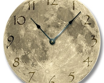 """10.5"""" Wall Clock - MOON pattern wall CLOCK - celestial home decor - harvest and blue moon also"""