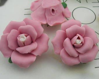 4pcs Big  Rose Ceramic  28mm, Pink / White Centre(28-9)