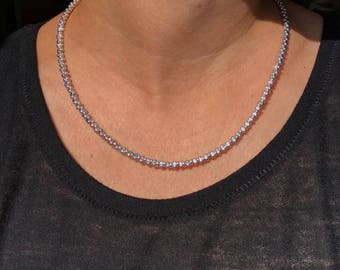 Handmade Minimalist Necklace with Magnetic Clasp and Czech Glass Chrome Colored Peanut Beads