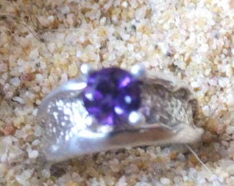 Amethyst and Sterling Silver Ring..... size 3.5 only