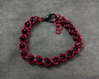Red and Black Bead Capture Chainmail Bracelet