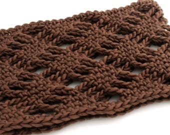 Crocheted Diamond Lace Neckwarmer. Brown. Cowl.