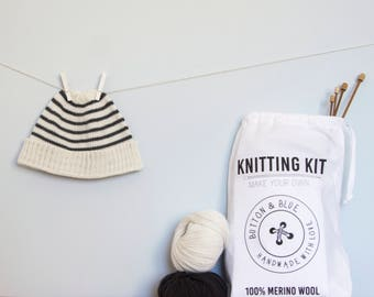 Baby Hat Knitting Kit. Beginners knitting kit. Roll Up Beanie: Stripes