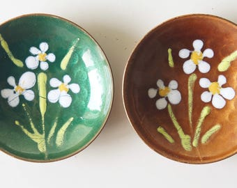 Small, vintage,copper, enamel plates, made by Moissiadis, Greece. Mid Century