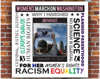 Customized Women's March On Washington Digital Photo Frame Print // Women's Protest Rally Commemorative  PRINTABLE Photo