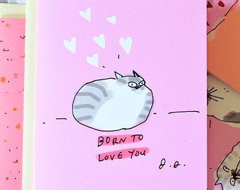 Born to Love You - Cat Mom or Cat Dad Card
