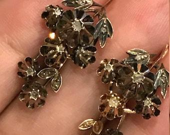 10% OFF - Fabulous georgian day and night diamond earrings