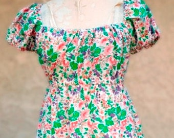 "SALE  Off the Shoulder Dress Vintage ""Liberty of London"" Cotton Print  New Original Sample Size 8/10  Item # 2018 Summer Apparel"