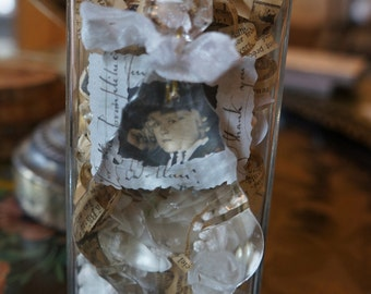 Bottle Assemblage with Crystal and antique Ephemera