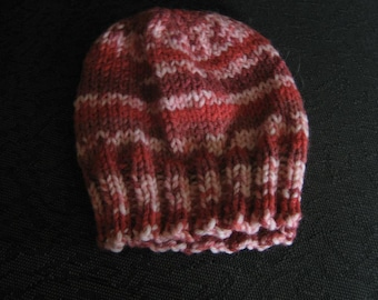 Baby Hat striped Acrylic blend size 3 - 6 months  Hand Knit