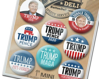 """8-Pack Mini Buttons - Donald Trump Mike Pence - 1"""" Lapel Pins in Assorted Designs - MAGA"""