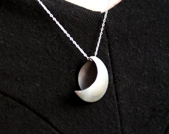 sterling silver necklace minimalist silver half moon dark side of the moon pendant
