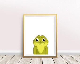Frog print,frog illustration,frog painting,nursery decor,frog wall art,frog art print,instant download,green frog,frog wall decor,frog gift
