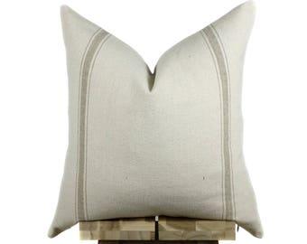 Grain Sack Pillow Cover | Tan Stripe
