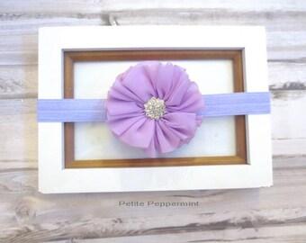 Lavender baby headband, baby bow headband, lavender bow headband, baby head band bow, girl hair bow, infant, toddler hair bow
