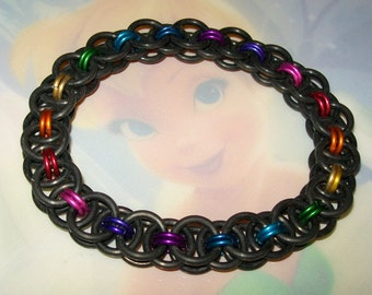Black Stretchy Helm Chainmaille Bracelet