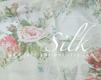 Off white Chiffon Silk pink rose Cottage Chic fabric
