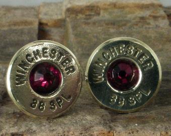 Bullet  Earrings Ultra Thin - Garnet - January Birthstone
