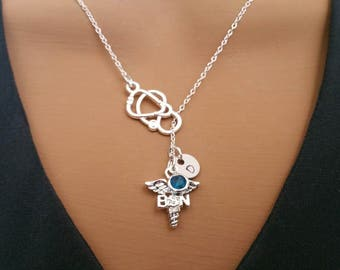 BSN Bachelors of Science in Nursing Nurse Gift Handstamped Personalized Crystal Birthstone Initial Lariat Style Necklace