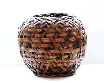 Large Woven Bamboo Planter Basket