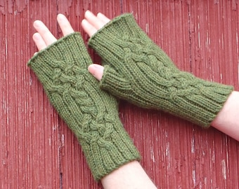 fingerless gloves with Celtic cables, texting gloves, alpaca fingerless gloves, wool fingerless gloves, Saxon braid hand made in usa /ready