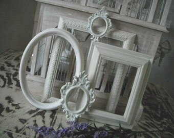 Shabby chic, Picture frames, French country, photo frames, cottage frame set, picture frames