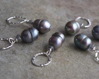 Pearl and Labradorite Charm Pendant- Interchangeable