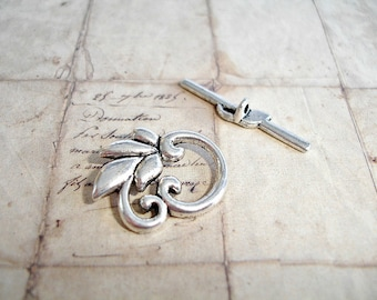 6 Antique Silver Toggle Clasps Scrolled Leaf