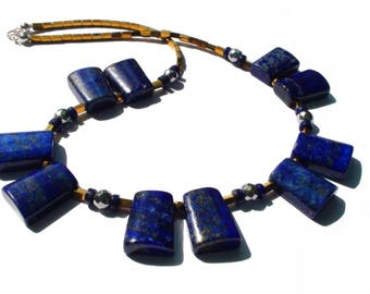 Geometric necklace Lapis lazuli, Hematite and 925 sterling silver, elegant necklace, gift idea for her women
