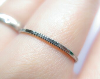 1mm thin, oxidized sterling silver simply ring, slim band, thin ring