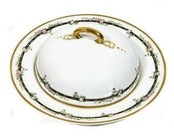 HC France Old Abbey Limoges Monticello Round Covered Butter or Cheese Dish