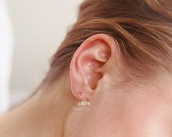 Petite Tiny Triangle Stud Earrings