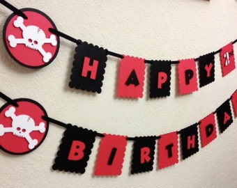 Pirate Happy Birthday Banner decorations Skulls - Jake and the Neverland Pirates