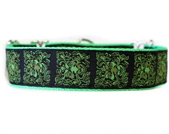 Wide 1 1/2 inch Adjustable Buckle or Martingale Dog Collar in Tree Man