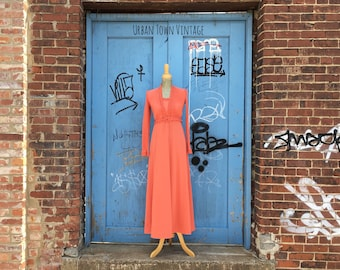 Vintage Salmon Colored Bolero Maxi Dress (Size Small)
